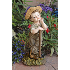 "20"" Male Child Farmer Home Garden Statue Sculpture Figurine"