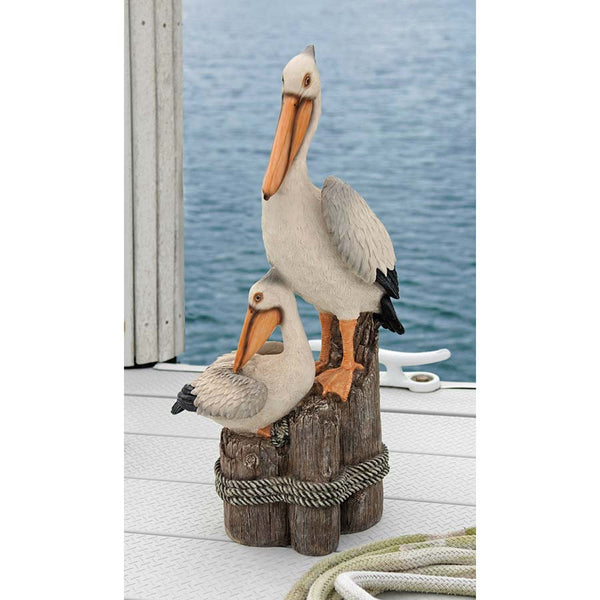 "24""H Pool Garden Lake Perch Pelican Bird Statue Sculpture Figurine"