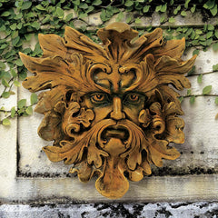 "11"" Gothic Mystical Greenman Wall Home Garden Sculpture Decor"