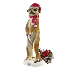 African Wildlife Meerkat Christmas Welcome Garden Statue Sculpture