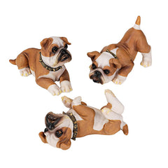 British Bulldogs Puppy Statues: Set of 3