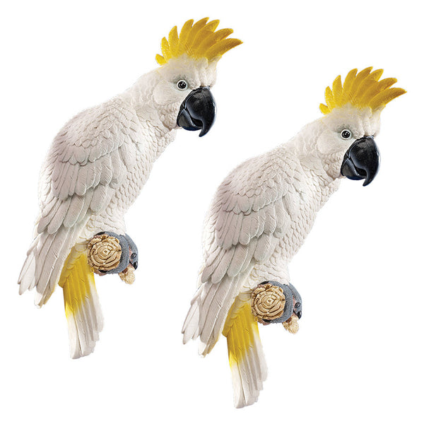"14"" White Australian Parrot Cockatoo Wall Sculpture Statue Figurine - Set of 2"