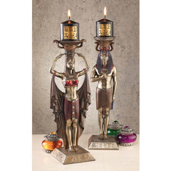 "14"" Classic Ancient Egyptian Sculpture Candle Stick Holder: Set of 2"