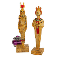 Classic Ancient Egyptian Hathor Osiris Sculpture Statue Figurine - Set of 2
