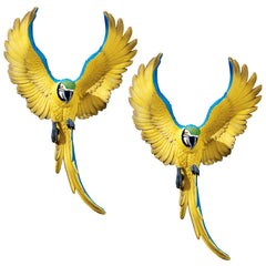 "18"" Tropical Exotic Parrots Flapping Macaw Bird Wall Sculpture Statue Figurin..."
