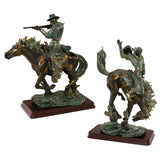 "13.5"" Texas Cowboys Wild West Rebels Sculptures Statues Figurines - Set of 2"