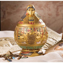 "8"" 1920 Replica Classic Ancient Egyptian Pharaoh Treasure Jewelry Urn - Set of 2"