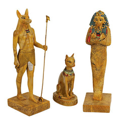 Classic Ancient Egyptian Collectible Statues Sculptures Anubis Bastet King Tu...