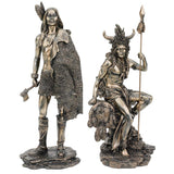 Bronze Traditional Southwest Art North American Indian Warrior Hunter Sculptu...
