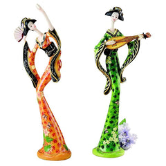 "11"" Classic Japanese Asian Collectible Geisha Sculpture Statue - Set of 2"
