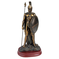 "9.5"" Faux Bronze Greek Elite Spartan Warrior Statue Sculpture Figurine - Set of 2"