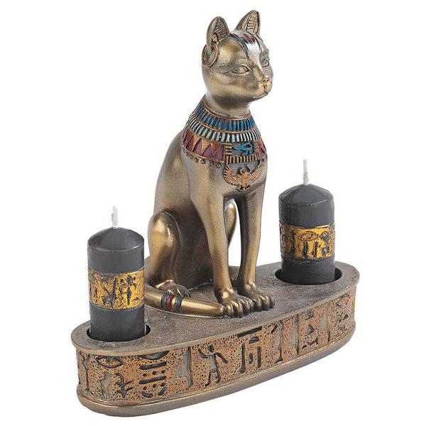 "5"" Classic Ancient Egyptian Art - Bastet Cat Goddess Sculpture Statue - Candl..."