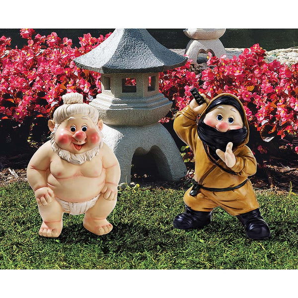 "10"" Traditional European Warrior Far East Garden Fighters Gnome Statue Sculpt..."