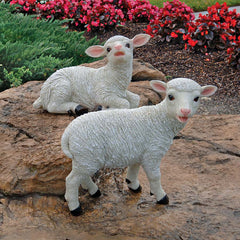 "13"" British Lamb Garden Statues Sculpture - Set of 2"