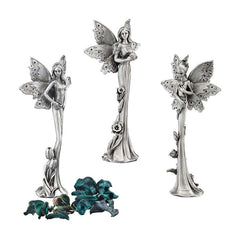 "6"" Cast Pewter Collectible Fairy Sculptural Fine Statue Figurine - Set of 3"