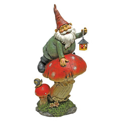 Garden Gnome with Lamp Statue