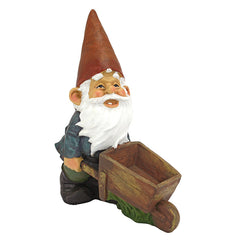 Decorative Wheel Barrel Willie: Garden Gnome Statue