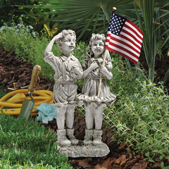 Young Boy and Girl with A Salute Statue