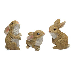 Garden Rabbit Statue Sculpture - Set of 3