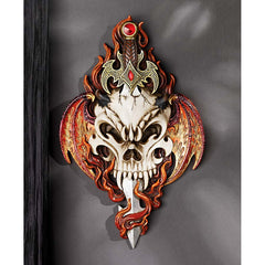 Decorative Skull and Sword Gothic Wall Sculpture Statue
