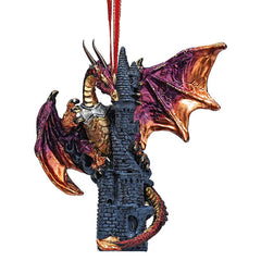 Dragon Castle Sculpture Holiday Ornament - Set of 2