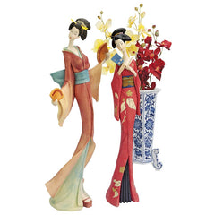 Japanese Maiko Geisha Fan Dancer Statues - Set of 2