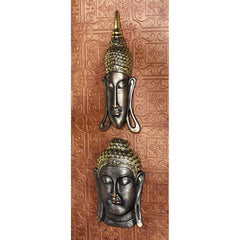 Sukhothai and Bodh Gaya Buddha Asian Wall Sculptures: Set of Two