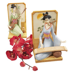 Japanese Geisha Musical Court Sculptural Collection Set of Two