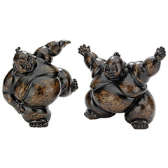 PAIR OF SUMO WRESTLER STATUES
