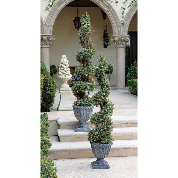 "60"" French Style Handcrafted Twisted Curl Evergreen Spiral Topiary Tree"