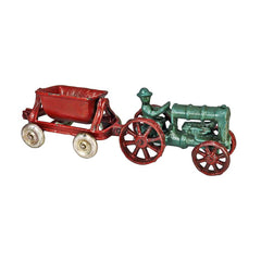 Fordson Vintage Tractor with Spill Wagon Replica Cast Iron Collectible Farm Toy