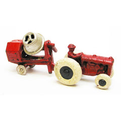 Vintage Tractor with Cement Mixer Replica Cast Iron Collectible Farm Toy