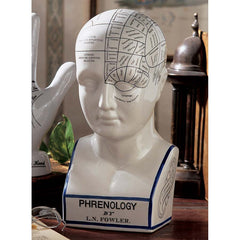 "12"" Antique Replica 19th-century Porcelain Phrenology Science Head Bust Statu..."