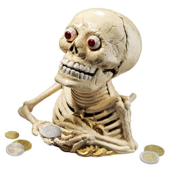 Bugged-Out Hungry Skeleton Cast Iron Mechanical Coin Bank