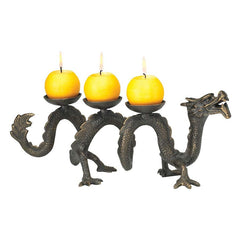 "6"" Chinese Ancient Dragon Foundry Iron Candle Holder Stand"