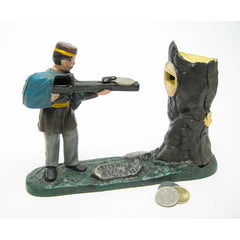 Rifle Range Hunter Collectors' Die Cast Iron Mechanical Coin Bank Military Gift