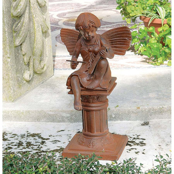 "13.5""Victorian Cast Iron Fairy Home Garden Statue Sculpture"