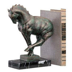 "10"" Decorative Greek Art Deco Solid Marble Horse Sculpture Bookend"