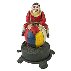 "10"" Spinning Acrobat Clown on Globe Authentic Cast Iron Mechanical Bank"