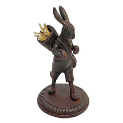 Victorian Collectible Rabbit Cast Iron Matchstick Sculpture