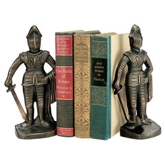 "9"" Bronze Finish Medieval Knight Sculpture Statue Decorative Iron Bookends"