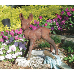 "15"" Cast Iron Deer Fawn Home Garden Sculpture Statue Figurine"