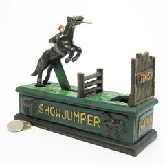 European Equestrian Show House Jumper Collectible Authentic Foundry Cast Iron Mechanical Bank