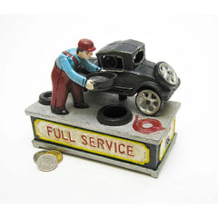 Model T Service Station Collectible Authentic Foundry Die Cast Iron Mechanical Bank
