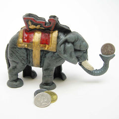 Antique Replica Elephant Collectors Die Cast Iron Mechanical Coin Bank
