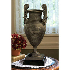 "17"" Classic Ancient Replica Foundry Iron Decorative Wine and Oil Urn with Mar..."