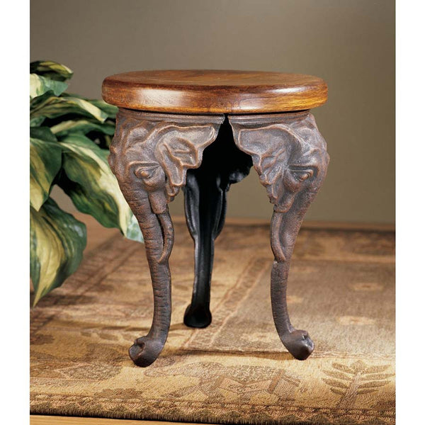 "16"" Antique Replica Wood Elephants Sculpture Footstool Side Table"