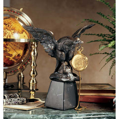 French Antique Replica Eagle Sculpture Time Piece/Treasure Display with Marbl...