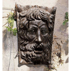 "15"" Classic European Greenman Cast Iron Wall Deco Sculpture Statue Figurine F..."