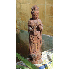 "17.5""Authentic Foundry Iron Chinese Goddess Guan-Yin Home Garden Sculpture St..."